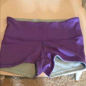 Purple/light blue reversible lululemon shorts